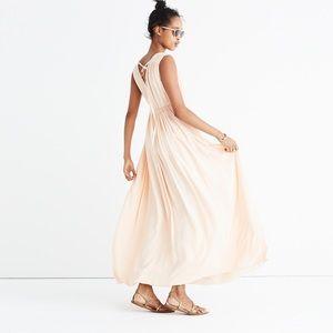 Madewell peach magnolia tie back maxi dress